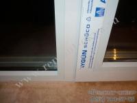 установка стеклопакета в алюминиевом окне